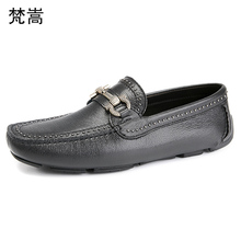 Lazy Shoes Mens Genuine Leather Leisure Soft-soled Personality Business Spring mens luxury shoes men designer