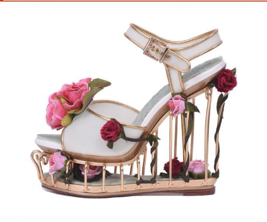Peep Toe Woman Sandal Rose Caged Heels