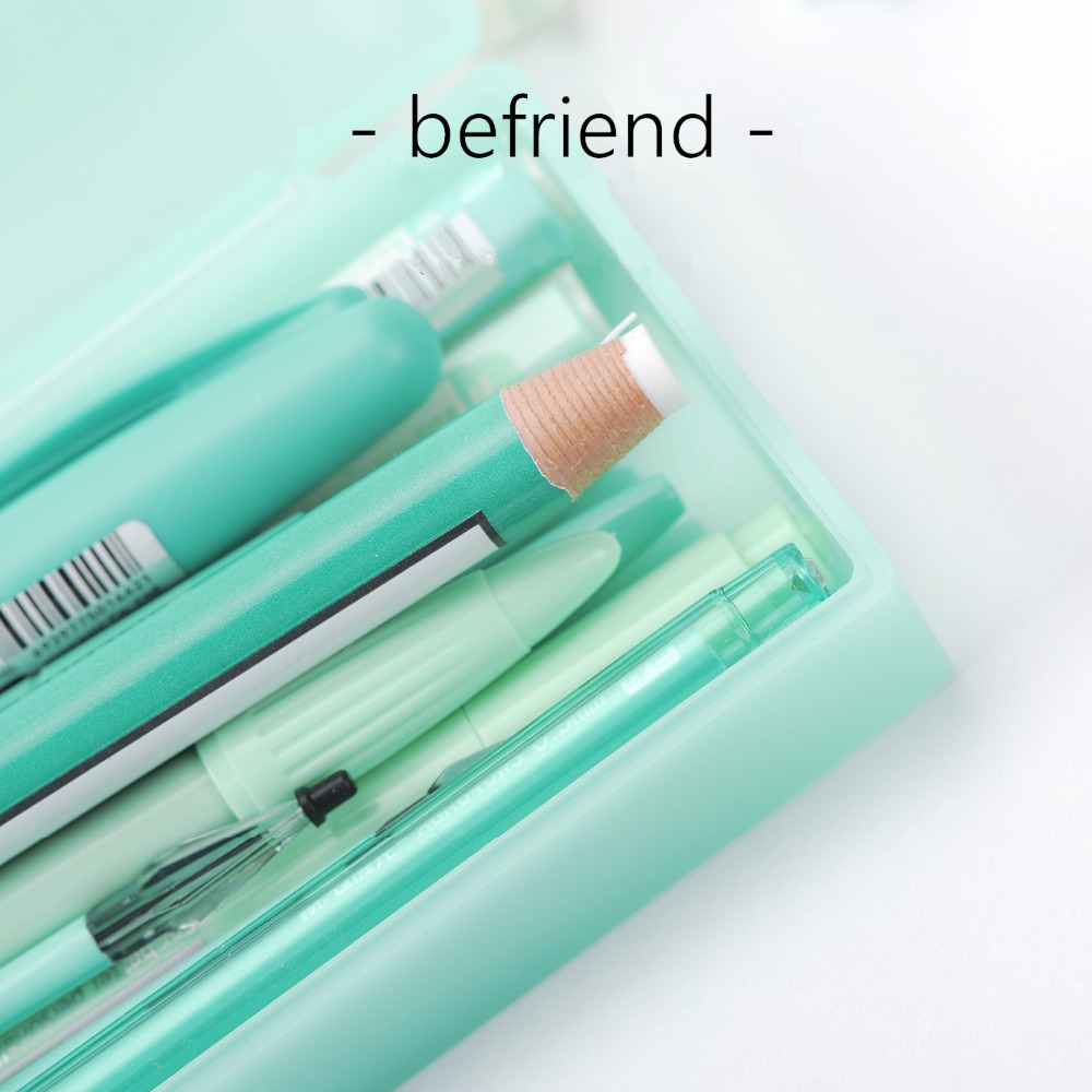 BEFRIEND school stationery set kawaii cute pen gifts with box pen gift bag pens with pencil case mint green stationery gift set kawaii cartoon girls folding multifunction school supplies pencil case cute stationery pen bag pouch box pencilcase for gir b157