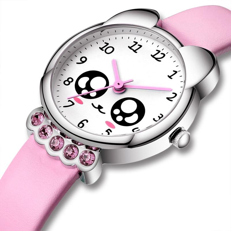 KDM Luxury Top Brand Girl Watch Kids Cute Leather Watches Rhinestone Waterproof Lovely Kid Children Wristwatch Teenager Clock