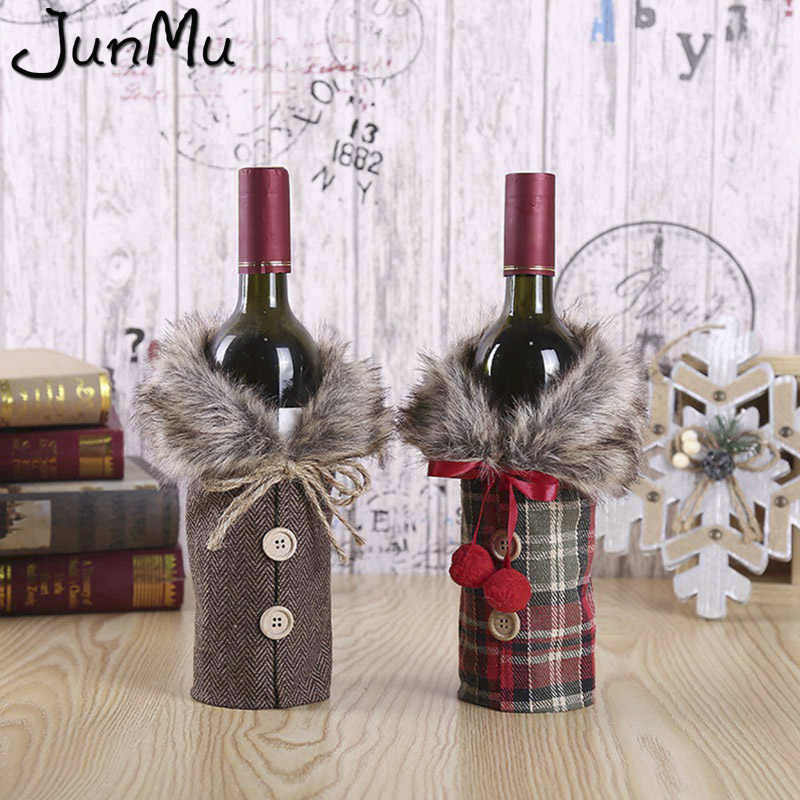 New Style Button Faux Fur Mini Coat Wine Bottle Cover Christmas Party Dinner Table Decors Grey/Red