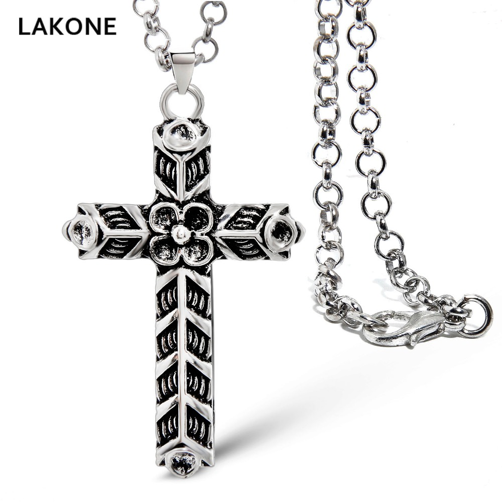 LAKONE Viking Necklace Athelstan's Cross Ragnar Indian Jewelry Men Women Pendant w/ Chain The Vikings Teen Unisex Antique Silver