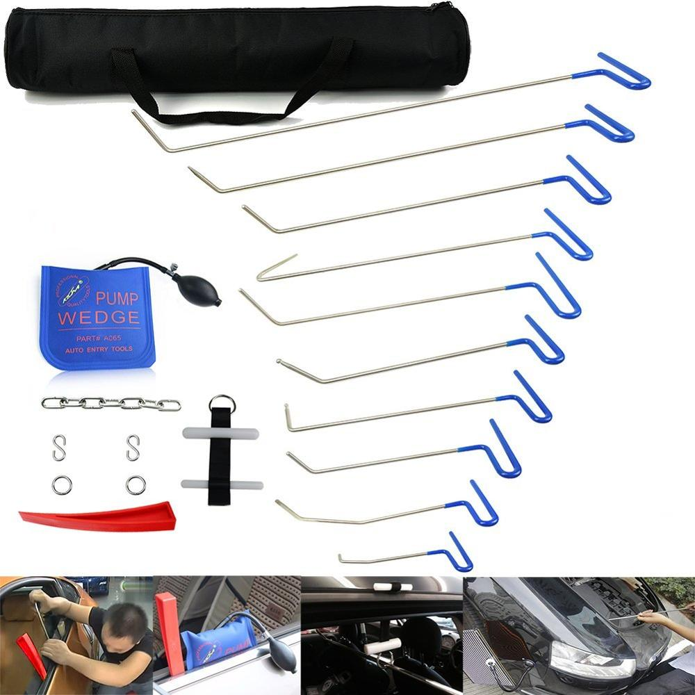 Furuix PDR Rods Paintless Dent Repair Tool Set Removal Of Dents And Door Ding With Rods  Hook Car Auto Body Dent Removal