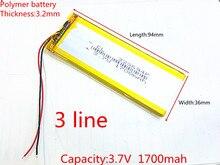 323696 XWD 323696 P 323694 3.8 V 1700 MAH 1600 MAH batería li-león 3 cables para china clon MTK teléfono goophone I6 6 S IP6