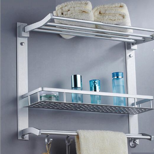 Prostor hliníkové multifunkční koupelnové police tři kombinované typu hliníkové police
