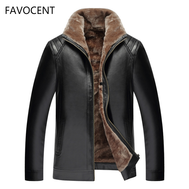 2019 Brand New Men's Leather Jacket PU Coats Mens Brand Clothing Thermal Outerwear Winter Fur Male Fleece Leather Down Jackets