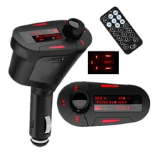 3.5mm Car Auto Luz Verde USB Inalámbrico Kit de Coche Tr ansmitter Reproductor de MP3 Para SD MMC Remoto LCD Modulador de FM Transmite ter