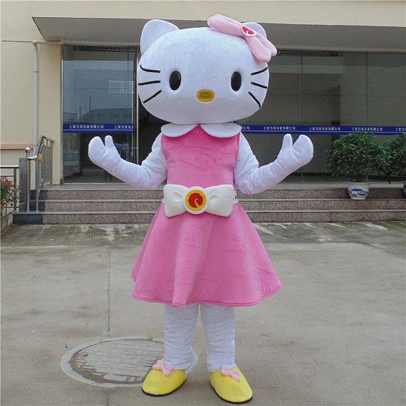 Costume Della Mascotte ciao Kitty cat costume della mascotte Personaggio Dei Cartoni Animati per Adulti animale rosa e bianco Halloween Purim partito