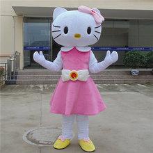 Рисунок «Hello Kitty» талисмана Кошка Талисмана Характер для взрослых животных Розовый и белый Хэллоуин Пурим Вечерние
