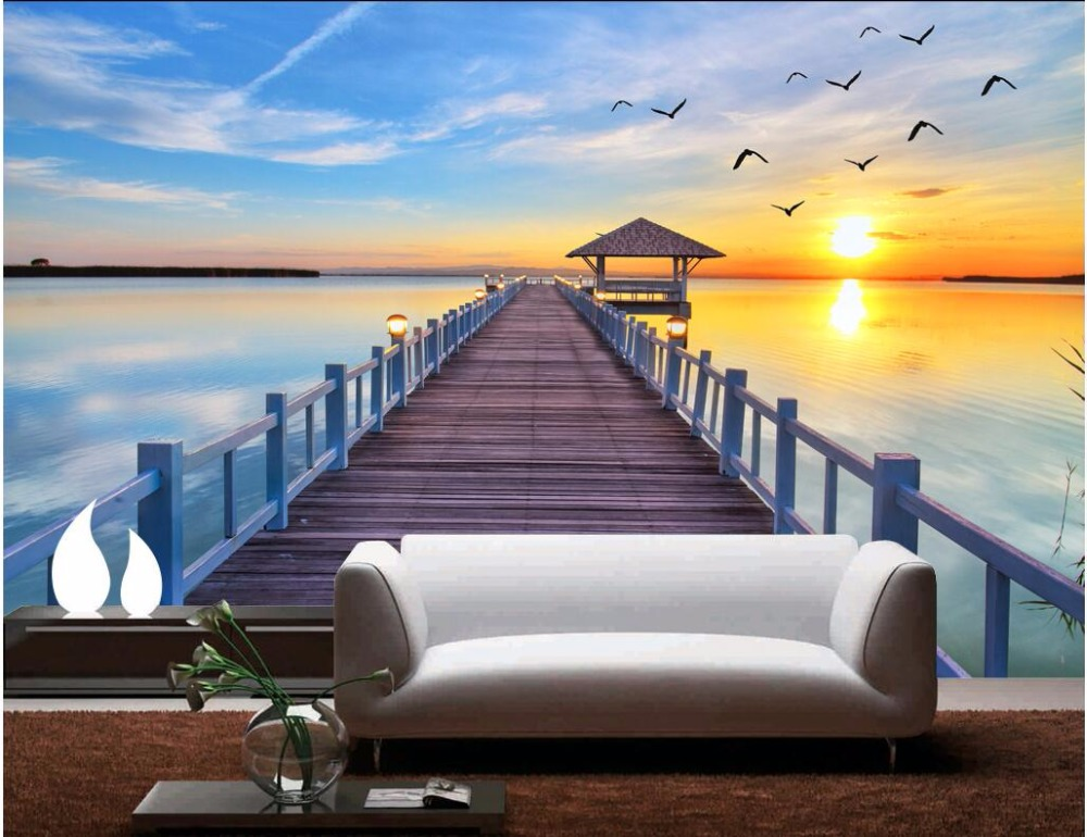 WDBH Custom Mural 3d Photo Wallpaper Sunset Seaside Wooden