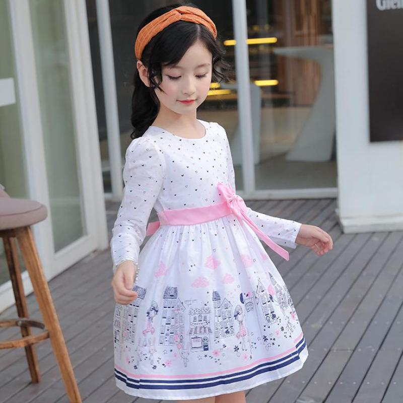 2017 New Autumn Girls Clothing Dresses European and American Style Children Princess Dresses Kids Clothes 7 8 9 10 11 12 13 14 new next fall girls graffiti sets european and american style printing zipper cardigan cartoon princess hot sale children s sets
