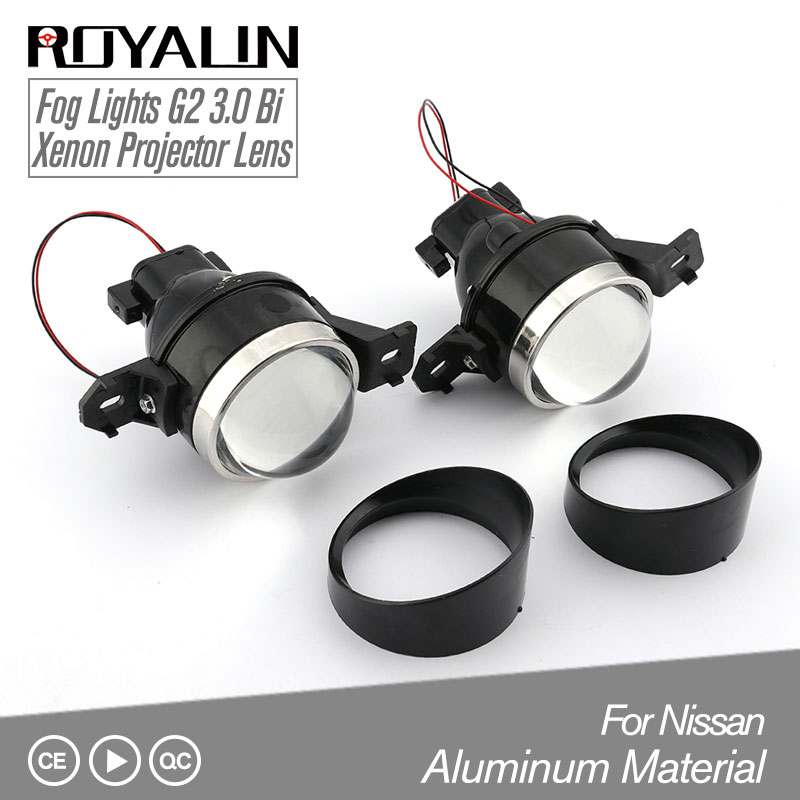 ROYALIN Fog Lens Bi Xenon Projector Light for Nissan 3.0 inch Full Metal Lenses Car Styling H11 DIY
