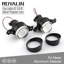 ROYALIN Fog Lens Bi Xenon Projector Light for Nissan 3.0 inch Full Metal Xenon Fog Light Lenses Car Styling H11 Light DIY taochis m6 2 5 inch fog light projector lens oem for toyota corolla prado camry yaris levin fog light hid bi xenon h11