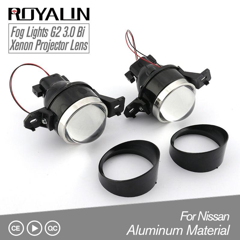 ROYALIN For Nissan Fog Lights Lens Car G2 Bi xenon H11 D2S Projector 3.0 Full Metal Halogen Fog Lamp High and Low Beam Retrofit