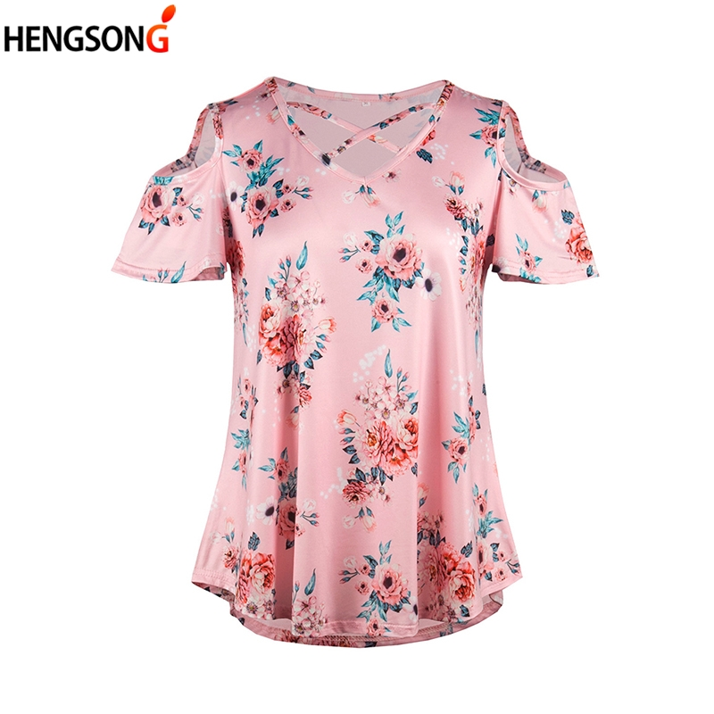 Boho Floral T-Shirt Floral Women Summer Off Shoulder TShirt Short Sleeve Sexy Female Top Loose Casual Tshirt Tee New