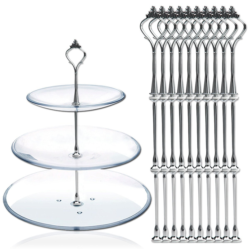 10pcs 3 Tier Cake Plate Stand Fittings Metal Wedding Party Cake Standing Decoration 15