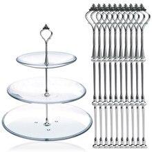 10 satz von 3 Tier Drei Schichten Kuchen Platte Stehen Halter Crown Metall Stange Fitting Hardware Rod Platte Halter Silber -20