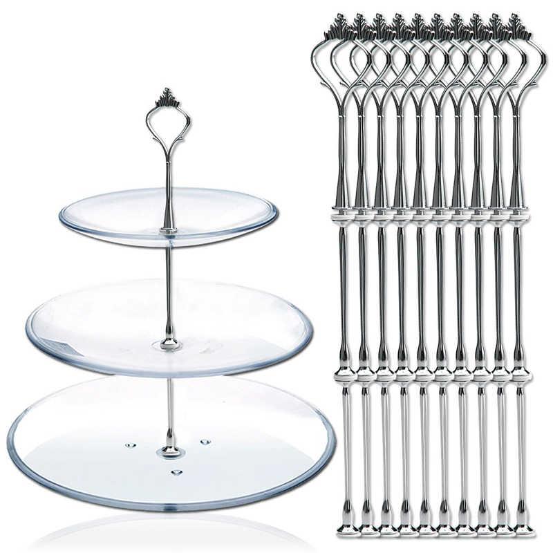 Juego de 10 de soporte de tres capas de 3 niveles para platos para pasteles, soporte de corona de varilla de Metal, soporte de placa de barra plateado-20