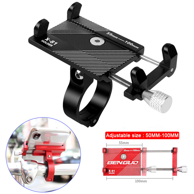 Aluminum Alloy <font><b>Bike</b></font> <font><b>Phone</b></font> <font><b>Holder</b></font> Mobile Support Motorcycle Stand For 3.5'' - 6.8