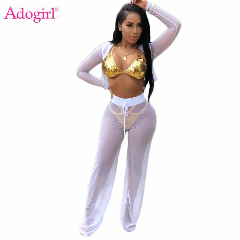 4398c4a15b Detalle Comentarios Preguntas sobre Adogirl mujeres Sexy Sheer malla  conjunto de dos piezas cremallera manga larga con capucha Top pantalones de  pierna ...