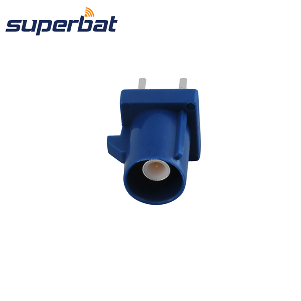 Superbat Car Antenna Fakra C Blue/5005 Male Plug PCB Mount Straight Connecntor For GPS Telematics Or Navigation