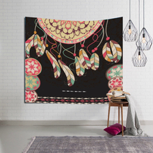 India Bohemia Wall Cloth Tapestries Colorful Dreamcatcher Feather Pattern Print Macrame Tapestry Mandala Decorative Yoga Mat colorful feather pattern hoodie
