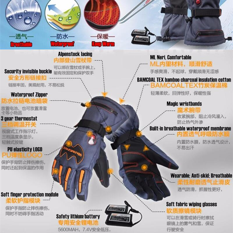 Warmspace 5600 MAH guantes de calor eléctricos inteligentes, batería de litio impermeable de esquí autocalentamiento, 5 dedos y parte posterior de la mano calentados, 3 engranajes 4-8 H - 2
