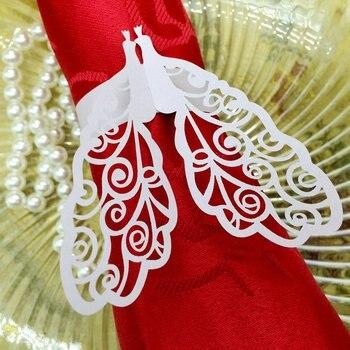 240pcs Laser Cut Hollow Peacock Paper Card Napkin Ring Serviette Buckle Holder Hotel Wedding Party Favour Decoration