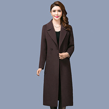 Autumn Winter Thick Woolen Coat Female New Large Size Over Knee Long Section Wool Non-double Cashmere Jacket Women Slim Was Thin 2017 winter new slim was thin waist big yards long section of lamb wool padded cotton jacket women
