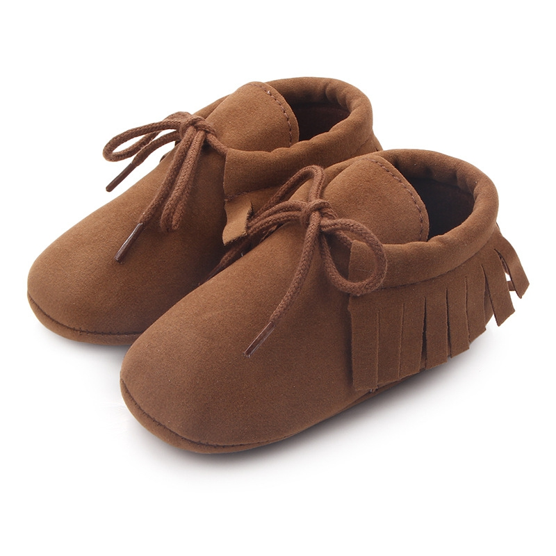 Newborn Baby Boy Girl Moccasins Shoes First Walkers  Earrings Soft Soled Slipper Shoes Cradle Shoes PU Suede Leather