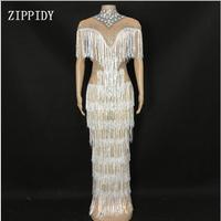 Новое дизайнерское блестящее платье со стразами и бахромой для женщин вечернее платье для ночного клуба для сцены женское певица танцор дл