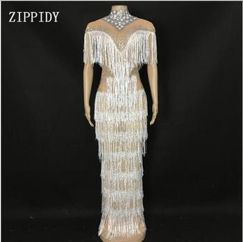 New design Shining Rhinestones Fringes Dress Women Evening Nightclub Stage Women Singer Dancer Long Dress