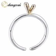 CHENGXUN 2017 Simple Jewelry Little Grass Open Gold Ring for Women Girls Wedding Rings(China)