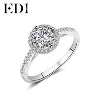EDI 14K White Gold Moissanites Diamond Ring Women Statement Wedding Bands Engagement Rings For Women Fine