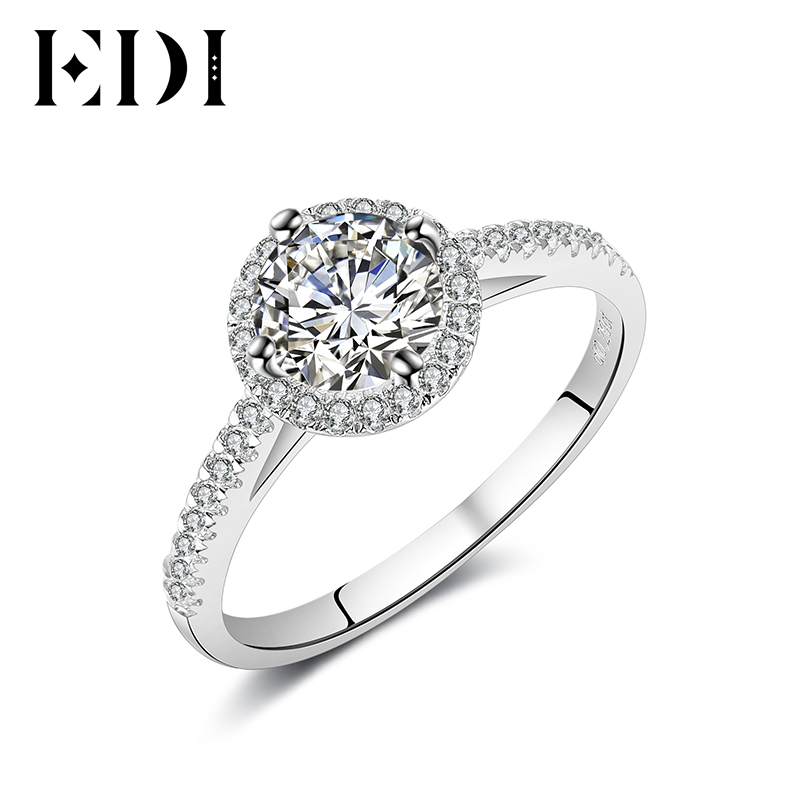 EDI 14K White Gold Moissanites Diamond Ring Women Statement Wedding Bands/Engagement Rings For Women Fine Jewelry Christmas Gift