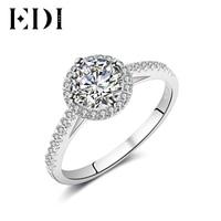 EDI 14K White Gold Moissanites Diamond Ring Women Statement Wedding Bands Engagement Rings For Women Fine