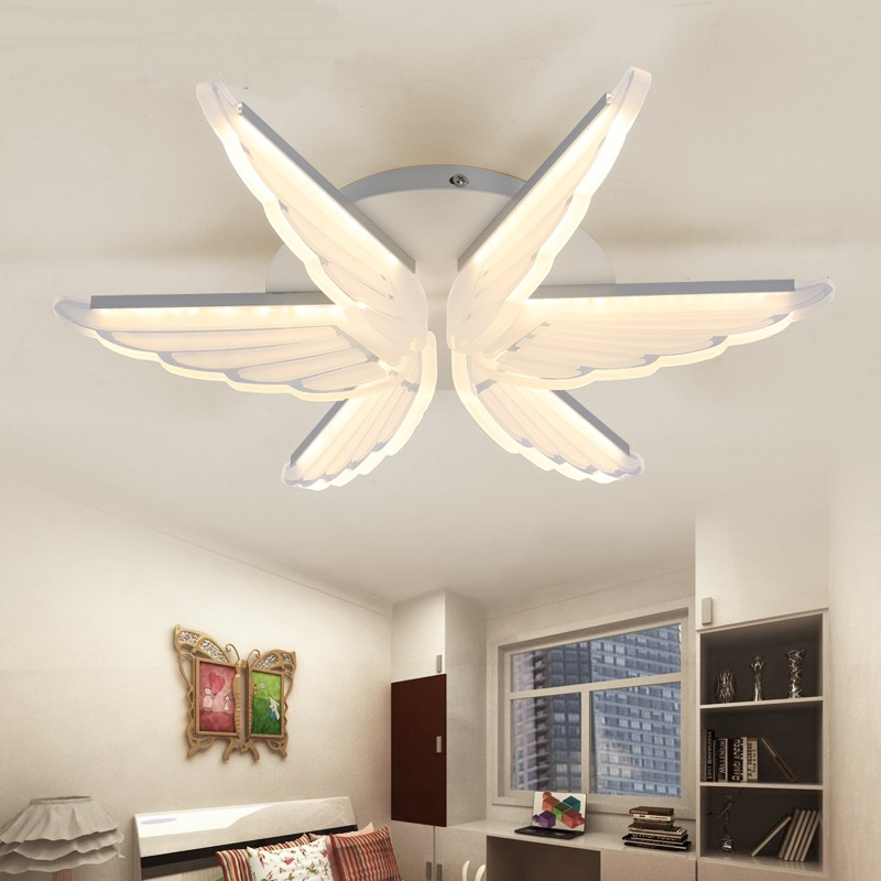 led lamp Ceiling lights eye protection Children 39 s bedroom Angel wing creative modeling modern minimalist ceiling lamps ET32 in Ceiling Lights from Lights amp Lighting
