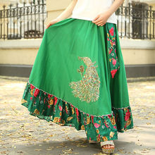 Bohemian 100% Cotton Casual Sweet Cute Pastoral Style Floral Irregular Novel Female Long Skirts / Maxi With Womens
