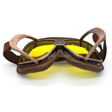 Copper Coffee Leather Vintage Helmet Motocross Steampunk Goggles Sport Yellow Sunglasses For Motorcycle Cafe Racer Dirt Bike