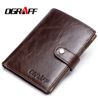 OGRAFF Short Passport Cover Men Wallets Leather Genuine Credit Card Holder Coin Purse Money Bag Small Wallet Passport Case Wale