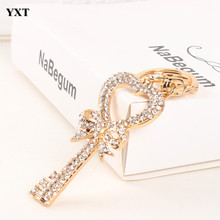 Exquisite Key Heart Butterfly Lovely Fashion Cute Rhinestone Crystal Pendent Keyring KeyChain Women Charm New Jewelry