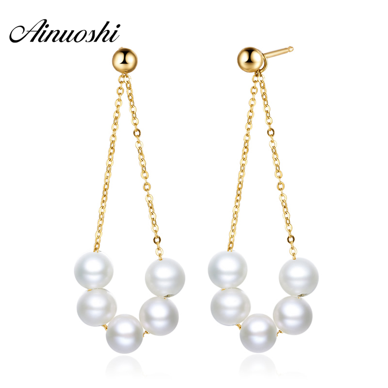 AINUOSHI 18K Yellow Gold Natural Cultured Freshwater Pearl Drop Earrings for Women Pearl Pendant Dangle Earrings Fine Jewelry yoursfs dangle earrings with long chain austria crystal jewelry gift 18k rose gold plated