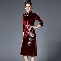 Chinese National Style 2018 Spring Autumn Clothing Wind Heavy Embroidery Ancient Cheongsam Dress Female Elegant Split Dresses
