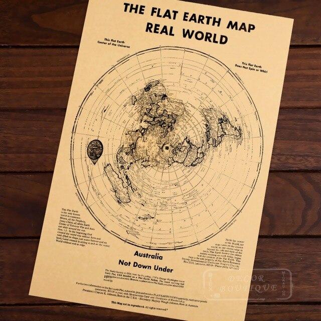 Mappa Della Terra Piatta Mondo Reale Classic Vintage Retro Mappe Kraft  Poster Decorativi Casa Bar Poster