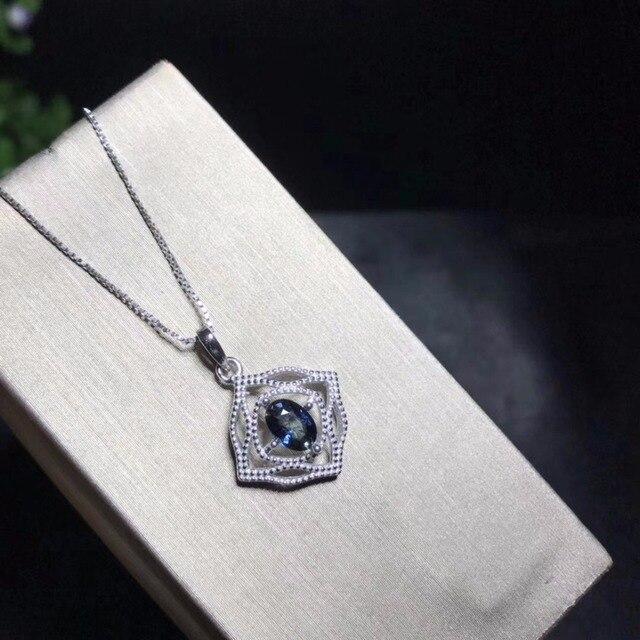 Collana zaffiro naturale, semplice e squisito, un carato anello di zaffiro, 925 in argento sterling, inviare catena
