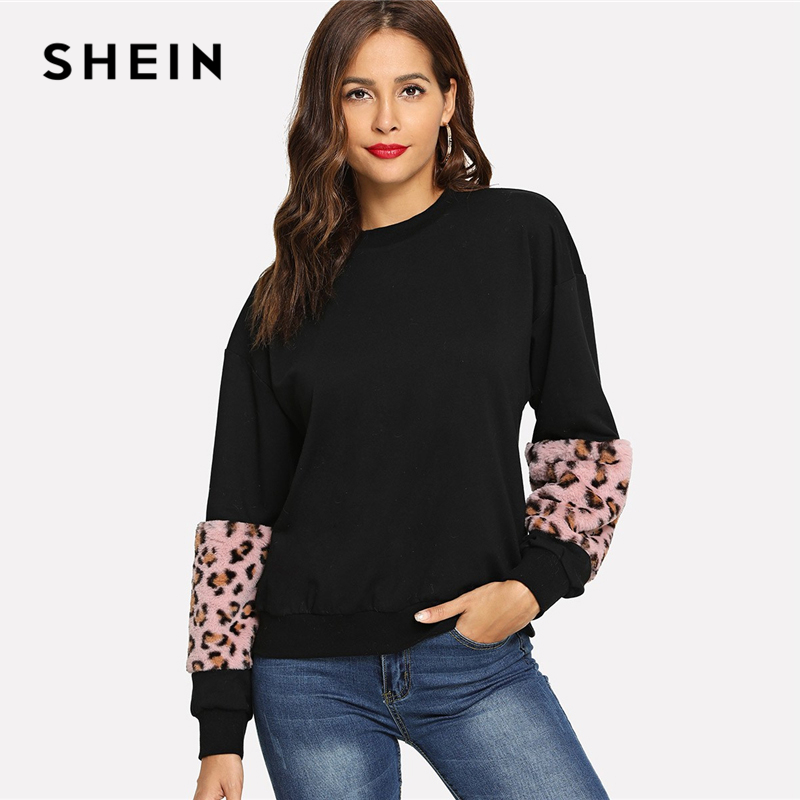 3fb60b469a Detail Feedback Questions about SHEIN Black Drop Shoulder Contrast Faux Fur  Sweatshirt Casual Round Neck Long Sleeve Pullovers Women Autumn Leisure ...