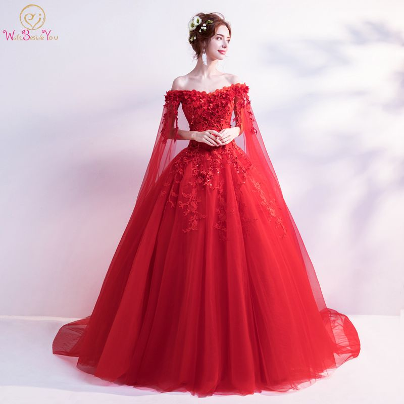 Walk Beside You Light Ivory Red Wedding Dresses Ball Gown Cheap Tulle Lace Applique Sequined Off Shoulder Long Sleeve Bride 2020