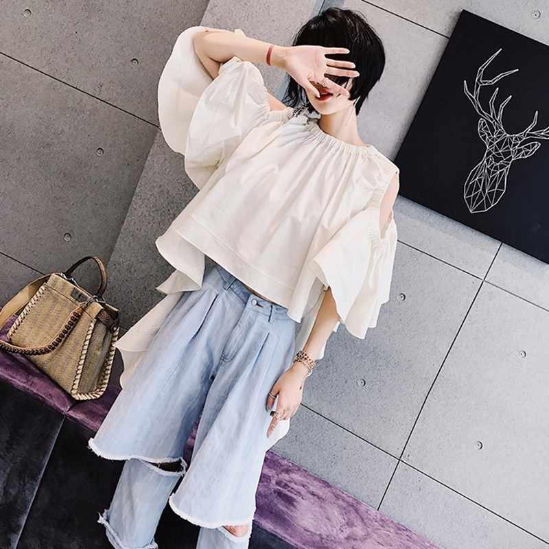 TWOTWINSTYLE レースアップシャツ女性のフリル中空アウトフレア半袖白ブラウス女性 2019 夏セクシーな新服
