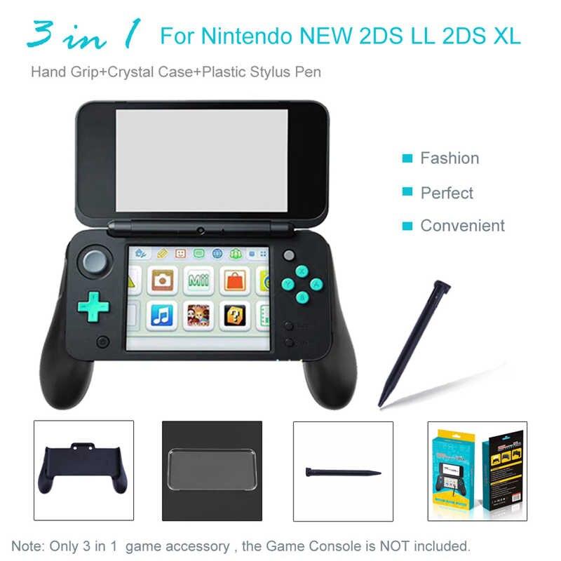 3 en 1 empuñadura de mano + Funda de cristal + lápiz óptico de plástico para Nintendo 2DS NEW LL XL accesorios para videojuegos de consola