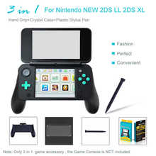 3 in 1 Hand Grip+Crystal Case+Plastic Stylus Pen for Nintendo NEW 2DS LL 2DS XL Console Anti Scratch Crystal Case